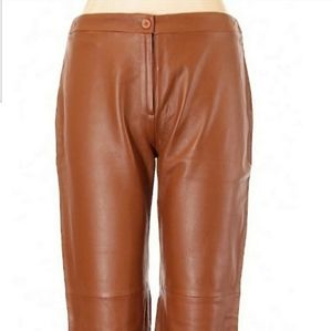 FREE SHIP BCBG Leather buttery soft pants tan S
